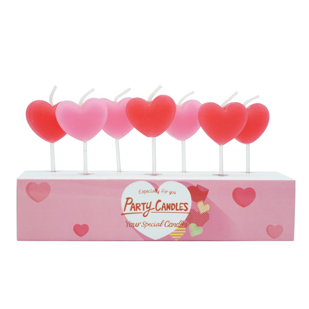 유어캔들 데코레이션 버라이어티 하트 캔들 2종세트, 레드, 핑크, 1세트