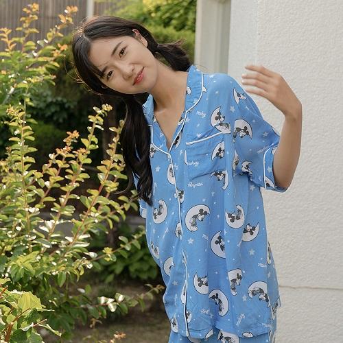마른파이브 여성용 디즈니 미키마우스 여름 모달인견 반팔 잠옷 세트