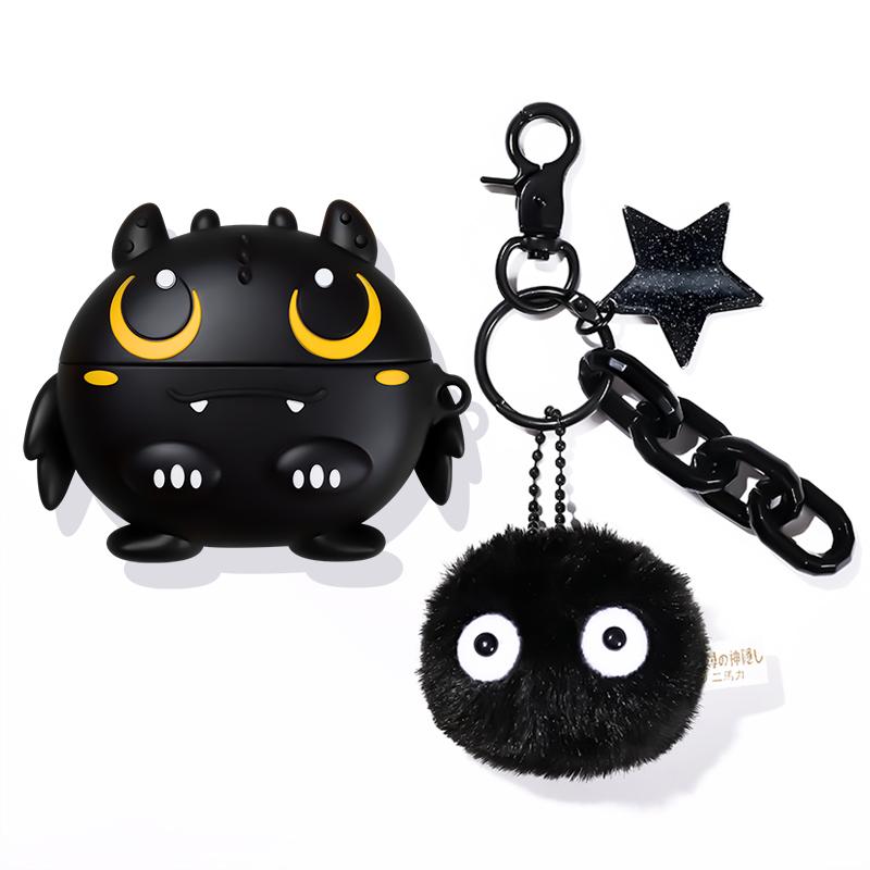 폰슈 에빌드레곤 에어팟 프로 3세대 케이스 열쇠고리 C세트, 단일상품, 블랙