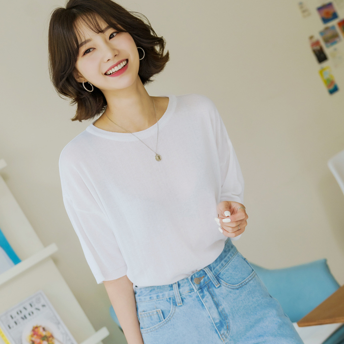 빼빼 여성용 레이온 R 니트 5부 티셔츠