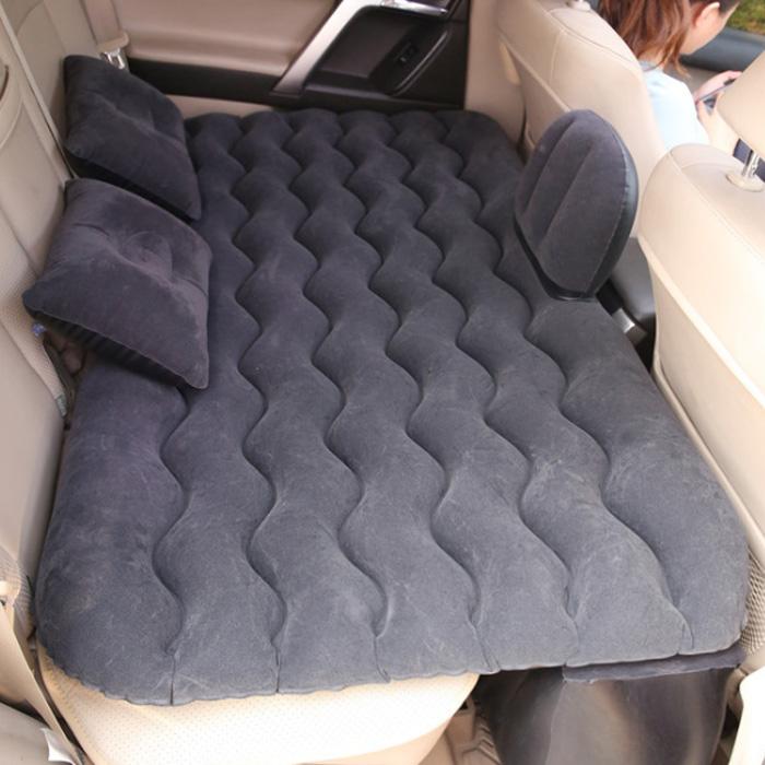 아리코 차박캠핑 물결무늬 에어매트 하단 롱블럭 일체형 세트, 블랙, 1세트