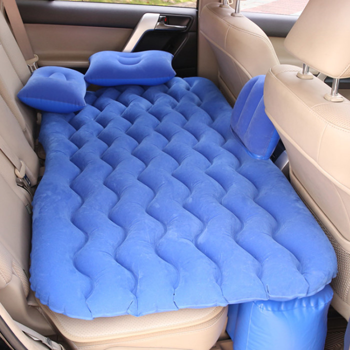 아리코 차박캠핑 물결무늬 에어매트 하단 롱블럭 일체형 세트, 블루, 1세트