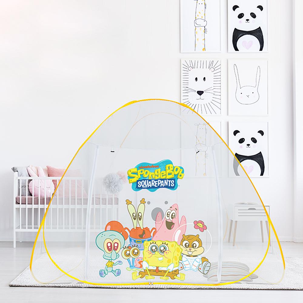 레토 스폰지밥 침대 원터치 아기 모기장 텐트 3~4인용 + 보관가방 세트, 혼합색상