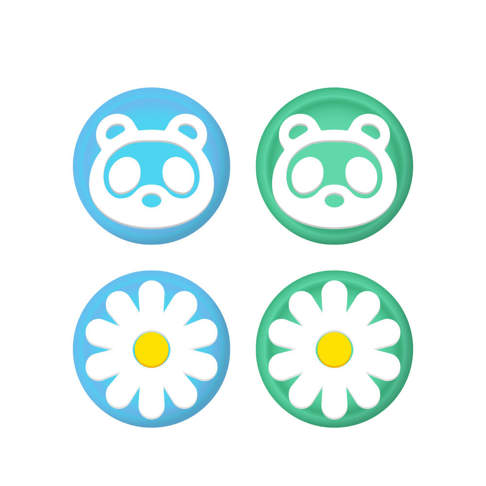 호후 닌텐도 스위치 / 스위치 라이트 실리콘 조이스틱 커버 동물의숲너구리꽃, 단일상품, 4개