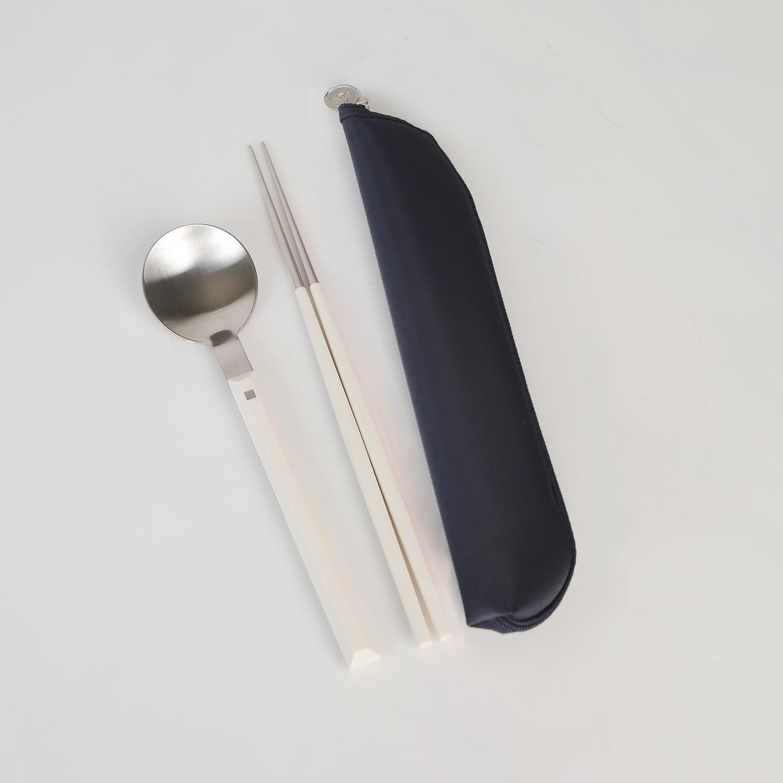 골든벨금속 모비 수저 + 수저집 세트, 수저(단일색상), 수저집(네이비), 1세트