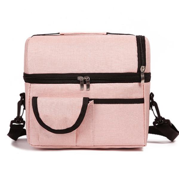 마켓감성 어깨 매는 보온 보냉백, 핑크