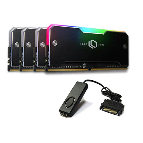 리드쿨 RH-1 ARGB 메모리 방열판 블랙 4p + 컨트롤러 케이블 세트, 1세트