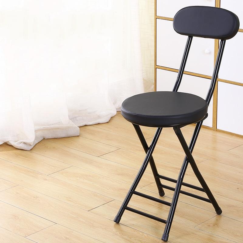 가팡 철제 두툼한 가죽쿠션 접이식 의자, 블랙 6501