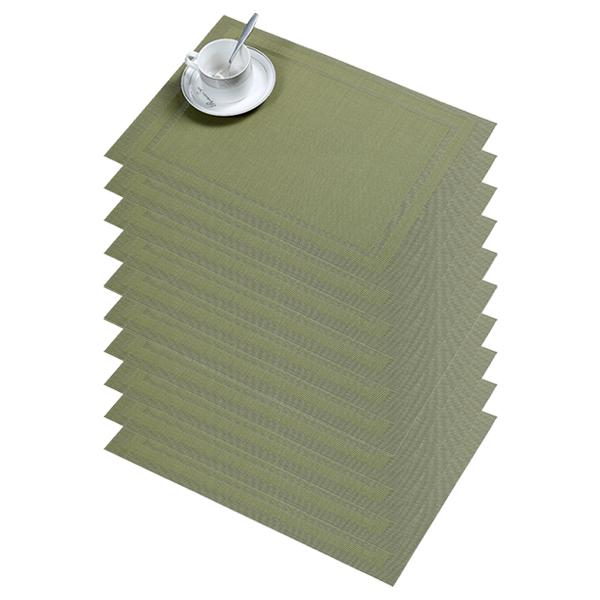 블럭마트 중복사각 식탁매트 10p, 그린, 45 x 30 cm