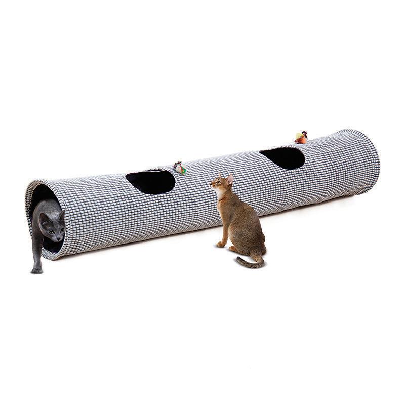 펫모닝 고양이 엠보싱 터널 놀이터 2구 1.5m PMC-9402, 혼합색상, 1개