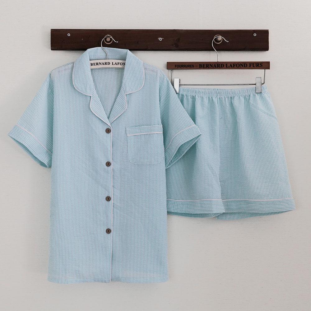 버블돌 커플용 홈웨어 지지미 줄무늬 반팔 투피스 잠옷 상하의 세트