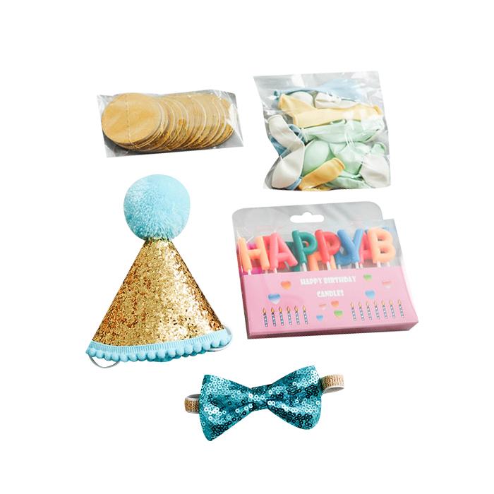 딩동펫 반려동물 생일파티 용품세트, 골드글리터, 1세트