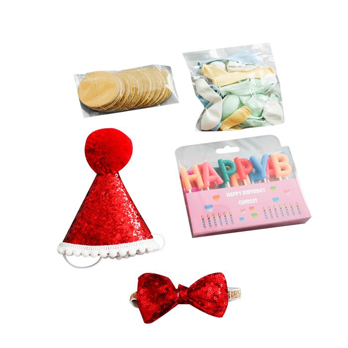 딩동펫 반려동물 생일파티 용품세트, 레드글리터, 1세트