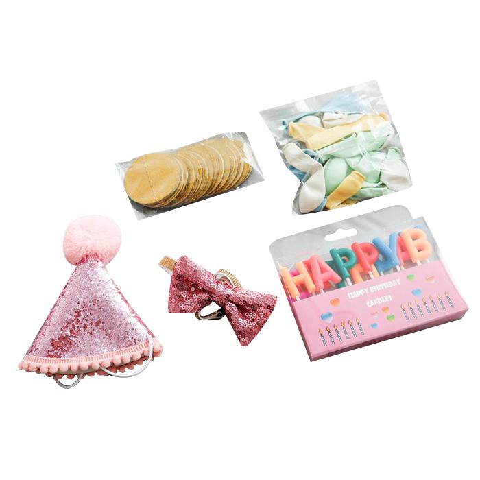 딩동펫 반려동물 생일파티 용품세트, 핑크글리터, 1세트