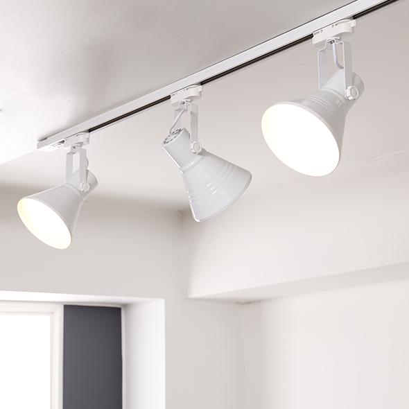 휴빛조명 나팔 레일 3등 일자형 세트, 화이트