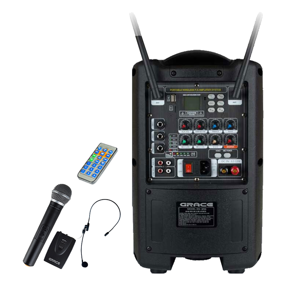 그레이스 200W 충전식 휴대용 이동형앰프 + 블루투스 USB SD포트 무선 마이크 2p, EG-210