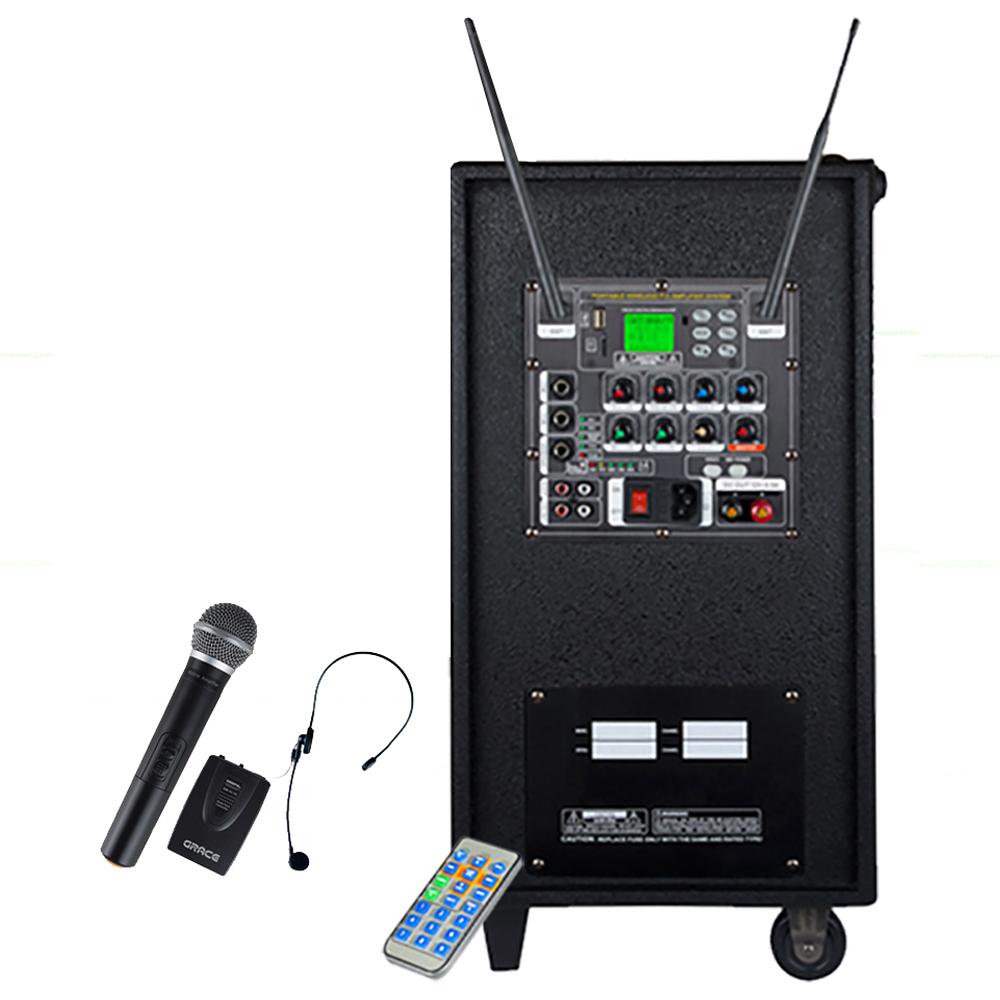 그레이스 400W USB SD포트 블루투스 무선 마이크 2p + 엔터그레인 충전식 휴대용 이동형 앰프, EG-410