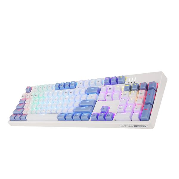 앱코 HACKER 카일광축 완전방수 크리스탈 레인보우 키보드, K8200, 바디(화이트), LED(V1 WHITE + BLUE RAINBOW)