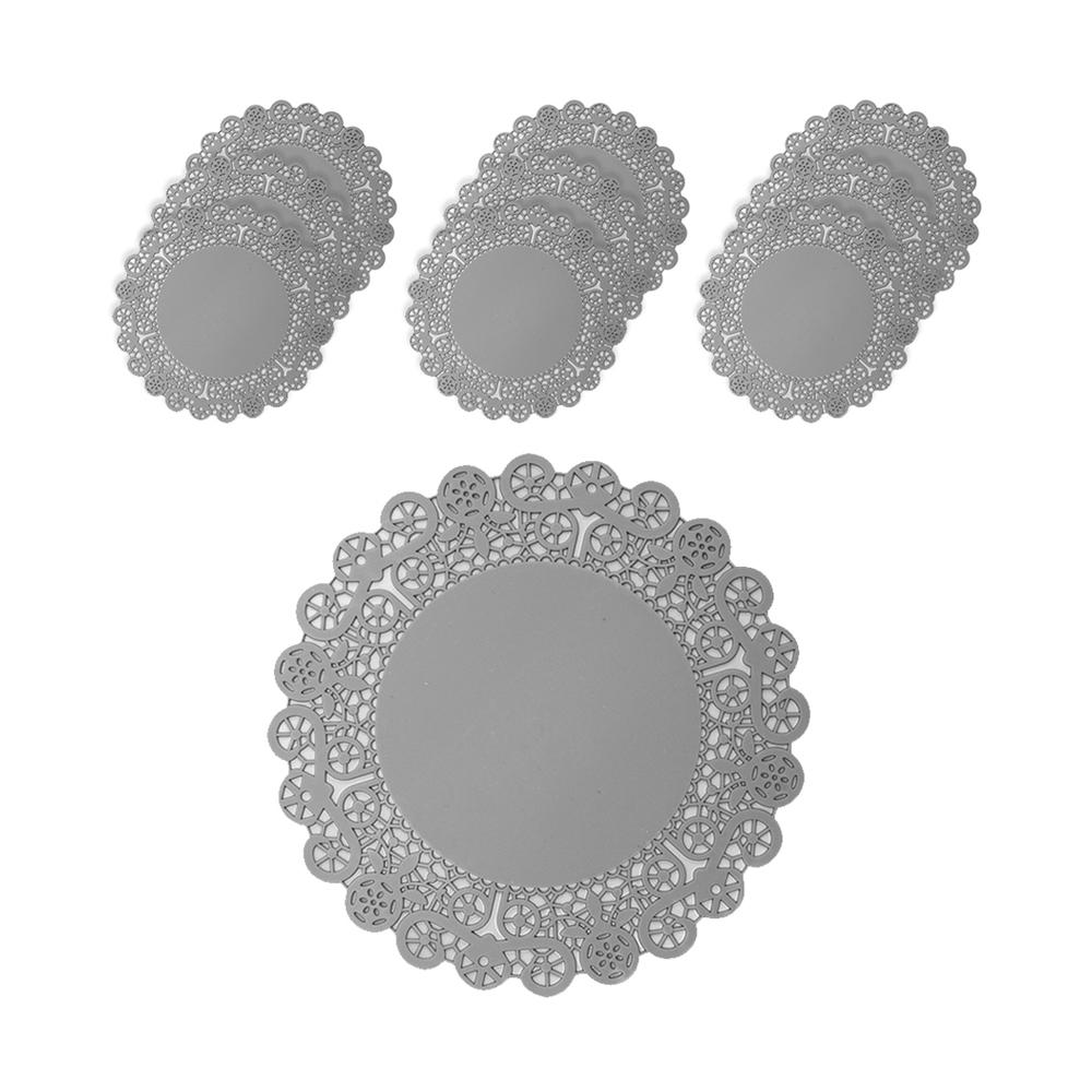 플라이토 실리콘 레이스 컵받침 10p, 그레이