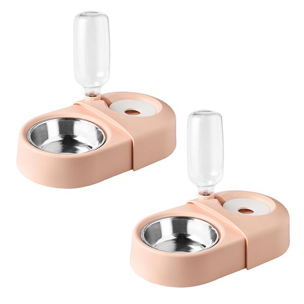 블럭마트 반려동물 더블그릇, 핑크, 2개