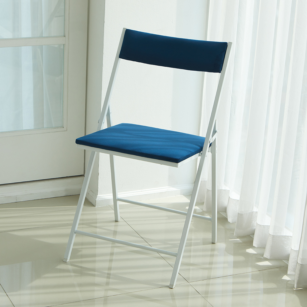 까사마루 노블레 벨벳 접이식 의자, 다크블루 + 화이트