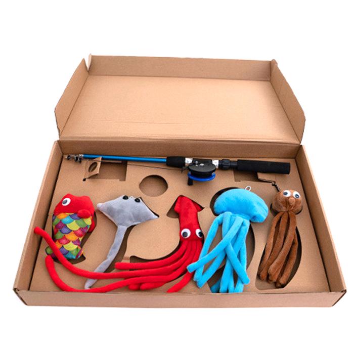 딩동펫 고양이 릴 낚시 장난감 세트, 혼합색상, 6개