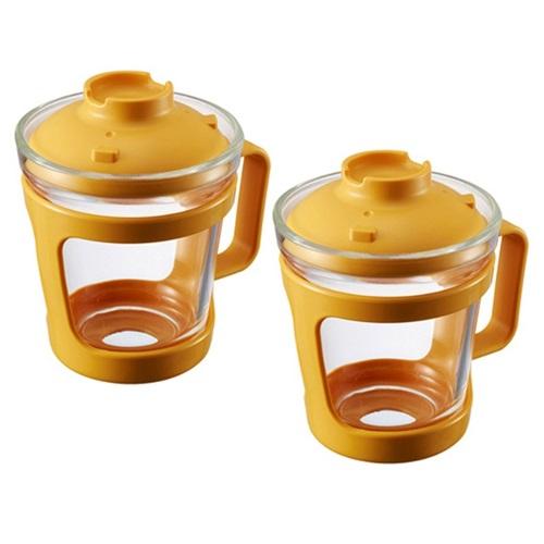 락앤락 간편식 글라스 컵 용기 550ml, 2개, YELLOW