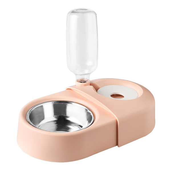 블럭마트 반려동물 더블그릇, 핑크, 1개