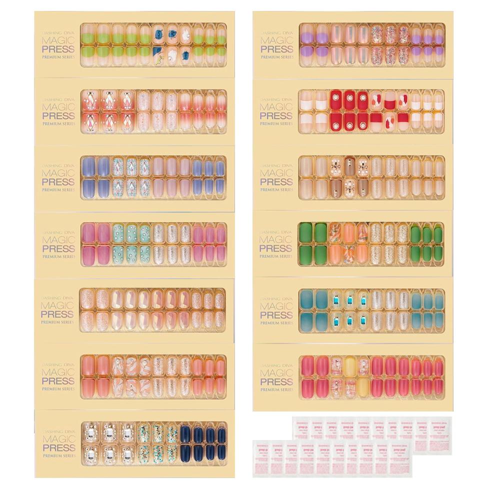 데싱디바 소프트 샤인 프리미엄 매직프레스 네일팁 13종 세트 + 프렙패드 20p, 혼합색상, 1세트