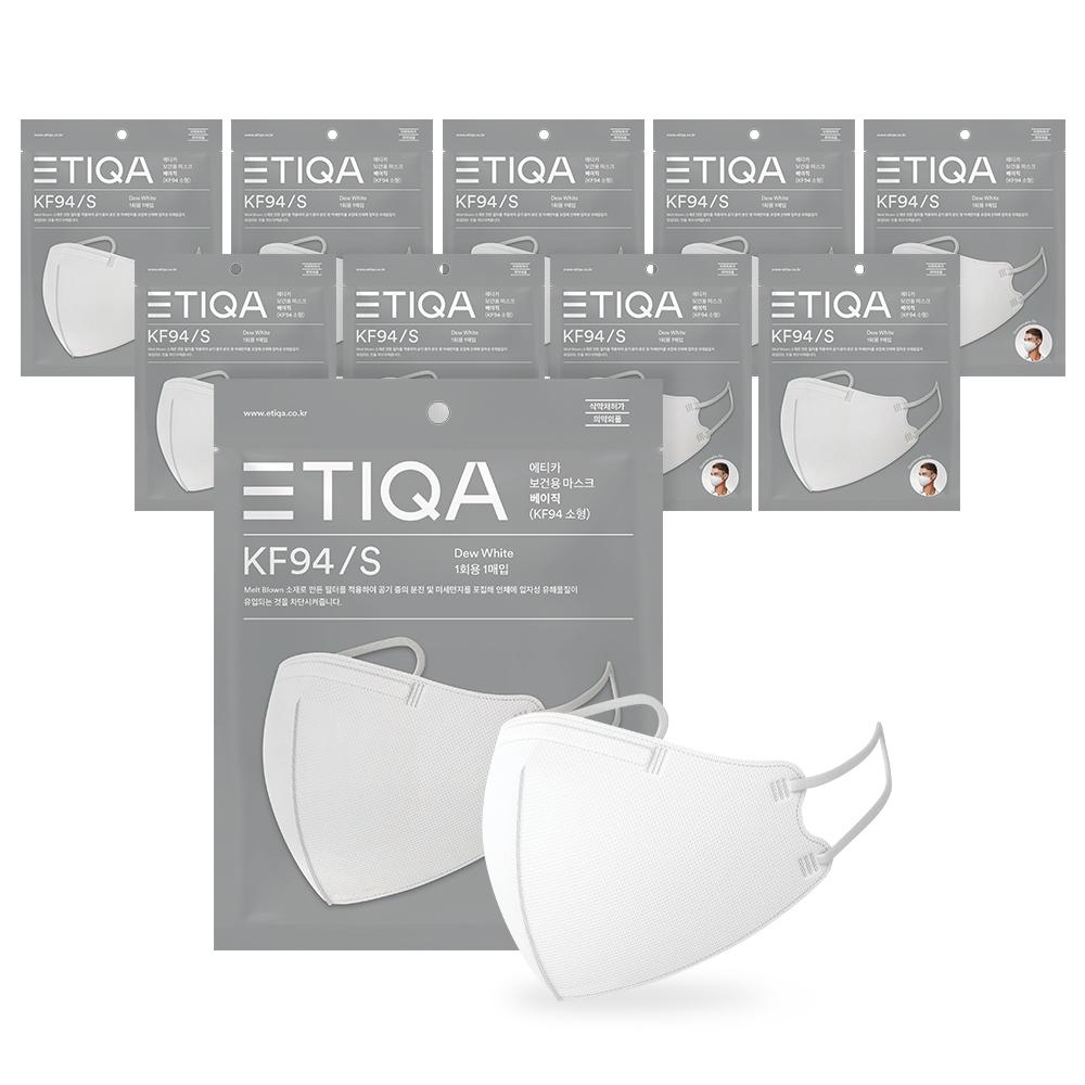에티카 보건용 마스크 베이직 성인용 KF94 백색 소형, 1개입, 10개