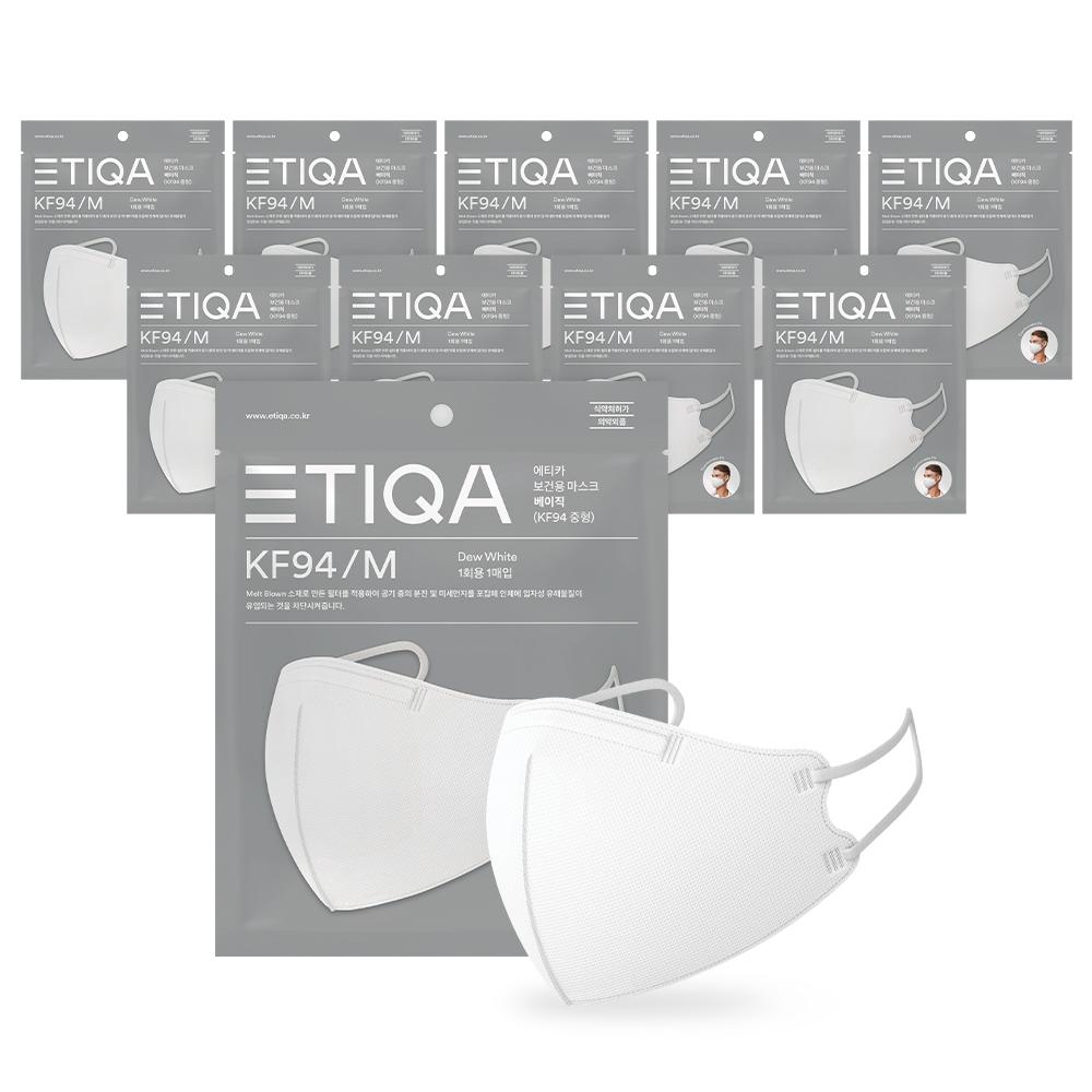 에티카 보건용 마스크 베이직 성인용 KF94 백색 중형, 1개입, 10개