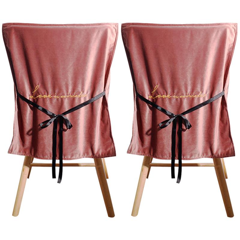 하늬통상 벨벳 식탁의자 등커버 2p, 핑크