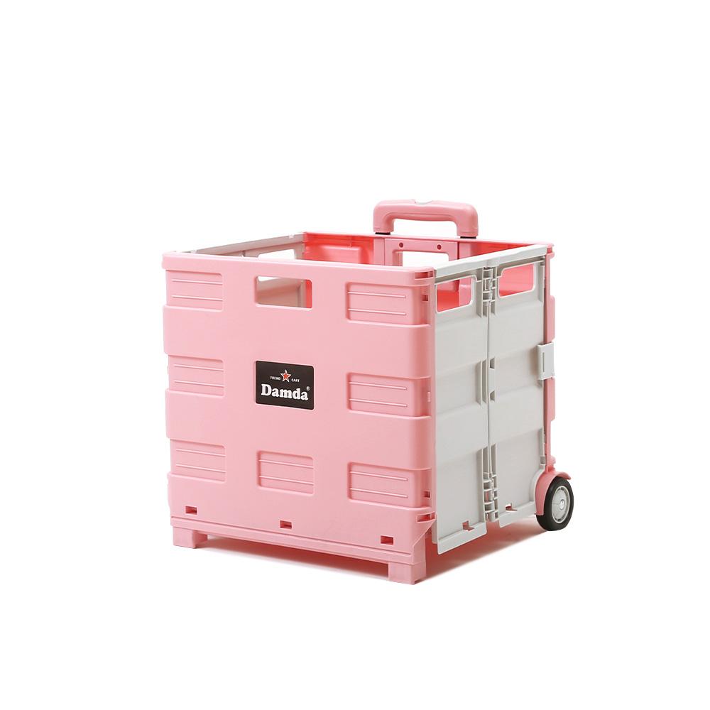 이소품 담다 접이식 쇼핑카트 대 + 뚜껑, 핑크 + 그레이, 1세트