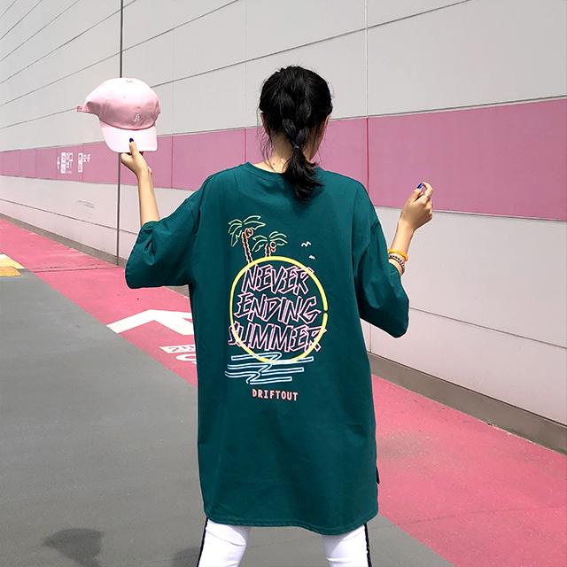 매드시스터 여성용 네버엔딩 오버핏 롱 반팔 티셔츠