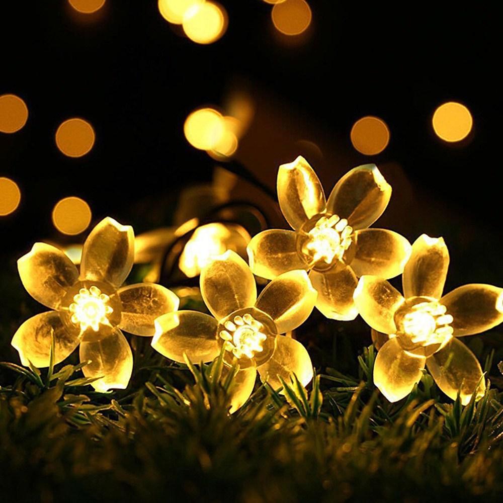21세기트랜드 태양열 벚꽃 전구 줄조명 100구 12m, 황색