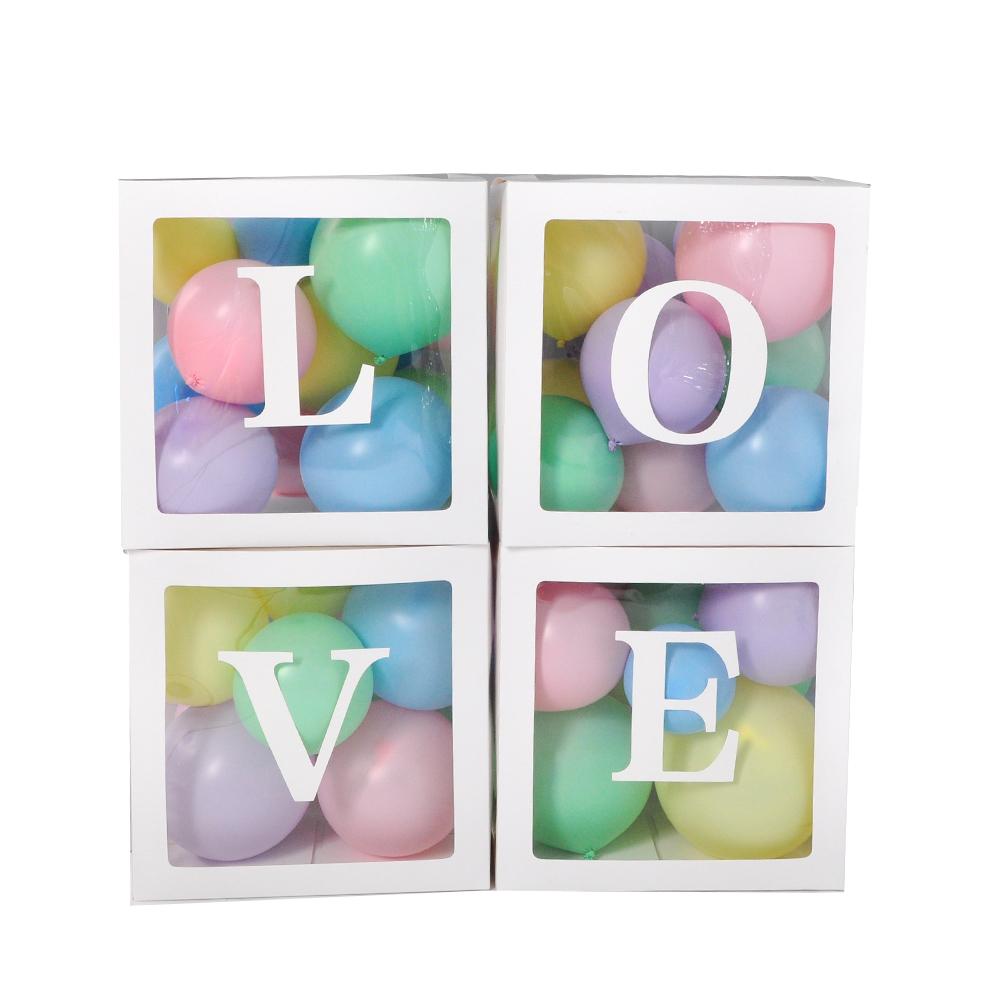 매트파스텔풍선 네오 30cm 50p + LOVE 박스 화이트 4p, 혼합색상, 1세트