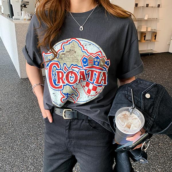 난닝구 여성용 카리덴 나염 반팔 티셔츠