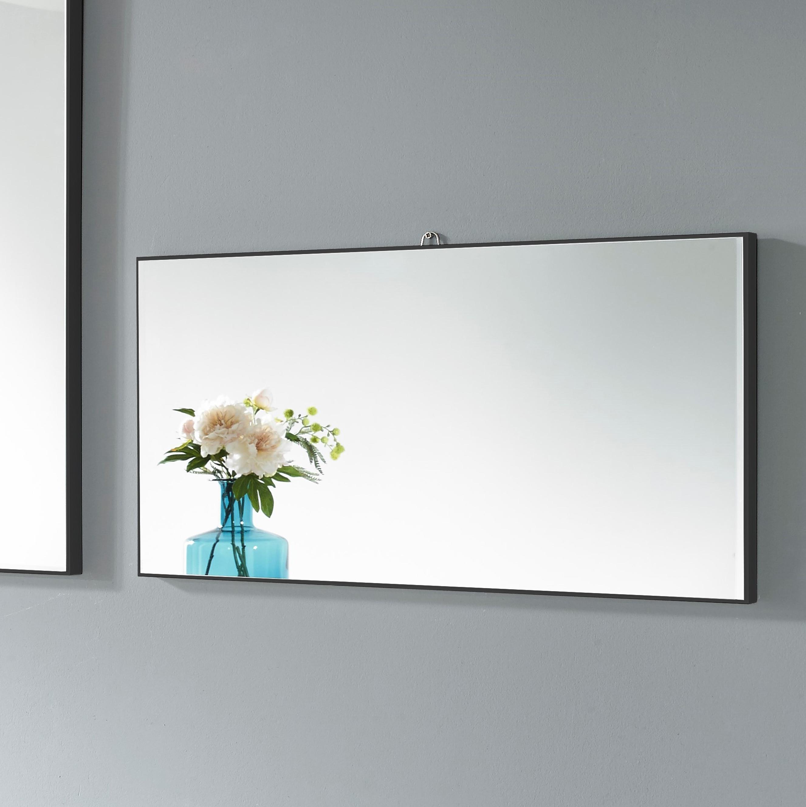 미소아이 가로세로 욕실겸용 모던 벽거울 600, 블랙