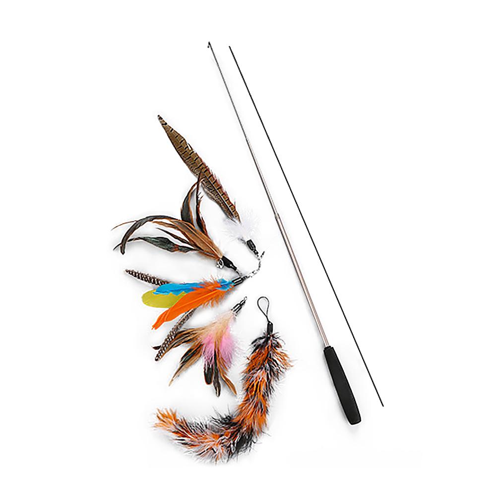 요기쏘 고양이 낚시대 + 깃털 5종 세트 ver2, 혼합색상, 1세트