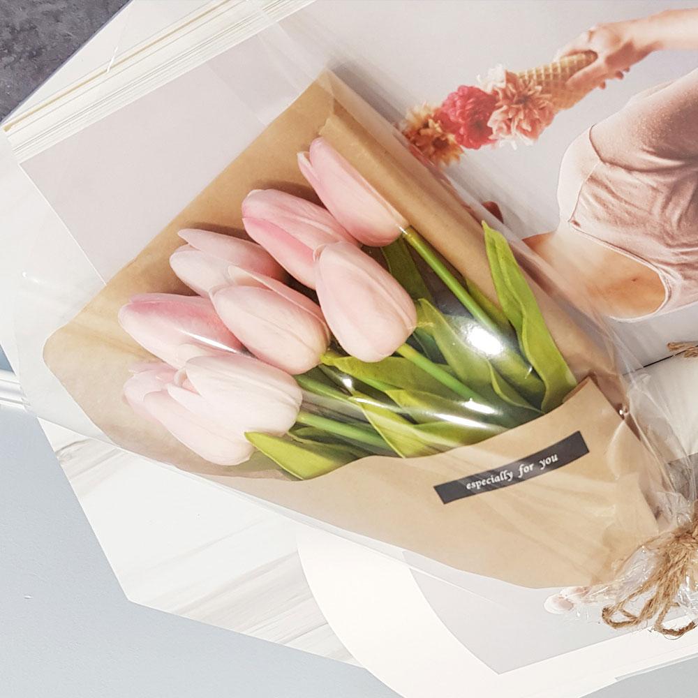 이플린 감성 조화 크라프트 튤립 꽃다발 10송이, 핑크