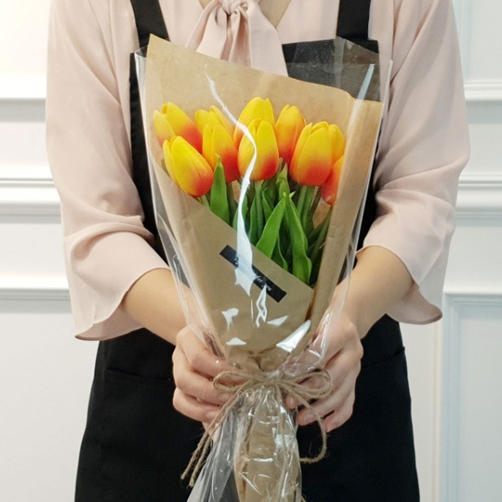 이플린 감성 조화 크라프트 튤립 꽃다발 10송이, 오렌지