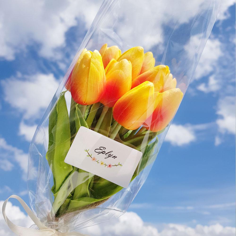 이플린 감성 조화 튤립 꽃다발 10송이, 오렌지