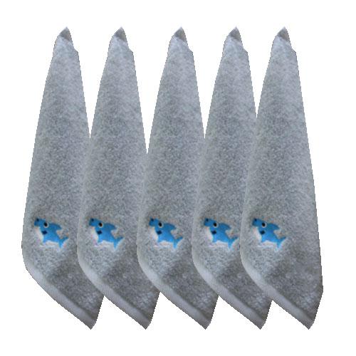 퍼니맘 상어 어린이집 개인 고리수건, 5개, 블루