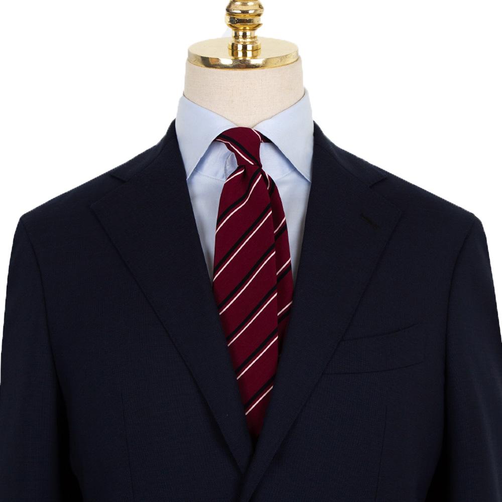 매너그램 레드 스트라이프 넥타이