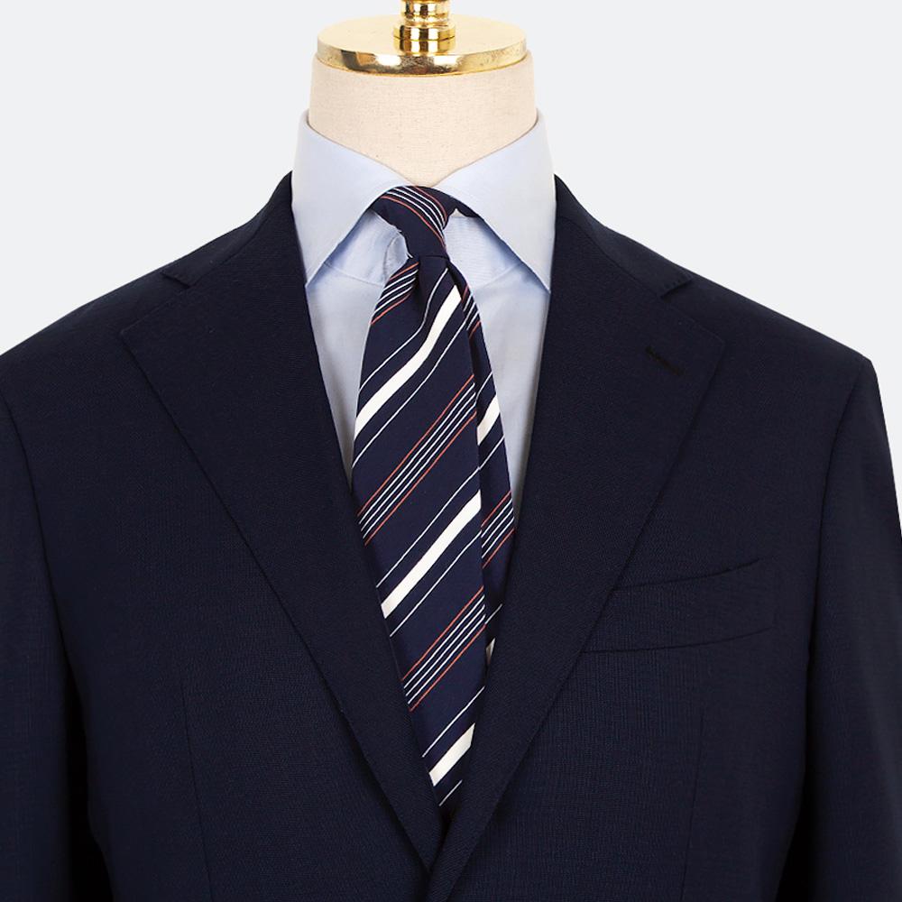 매너그램 레드 더블 스트라이프 넥타이