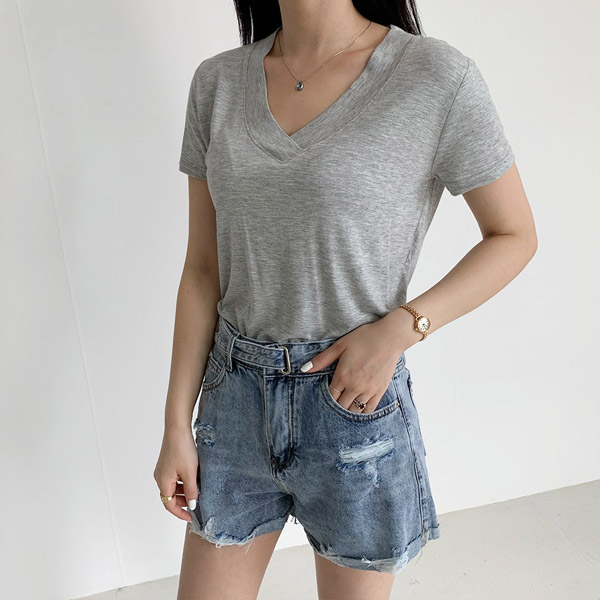오키 여성용 레이온 겹브이넥 반팔 티셔츠