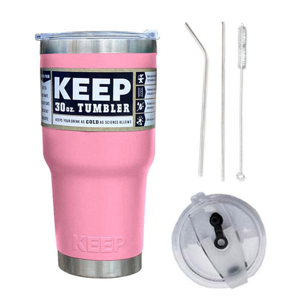 4YOU KEEP 대용량 스테인레스 보온보냉 텀블러 + 밀폐형 빨대 뚜껑 + 빨대 세척솔, 핑크, 900ml