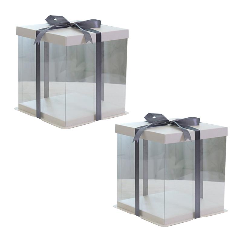투명 쉬폰 케이크상자 2호, 혼합색상, 2개
