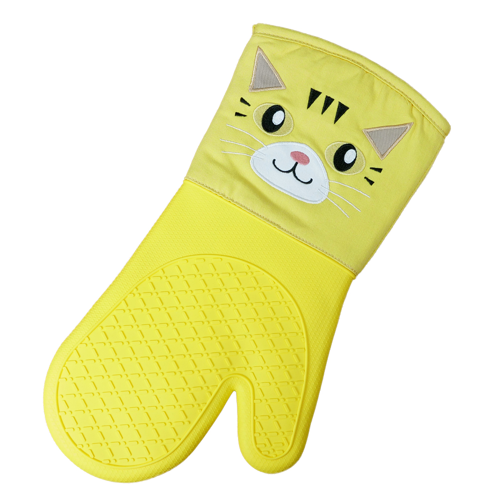 아이나라에듀 실리콘 주방 오븐장갑 고양이, 옐로우, 1개