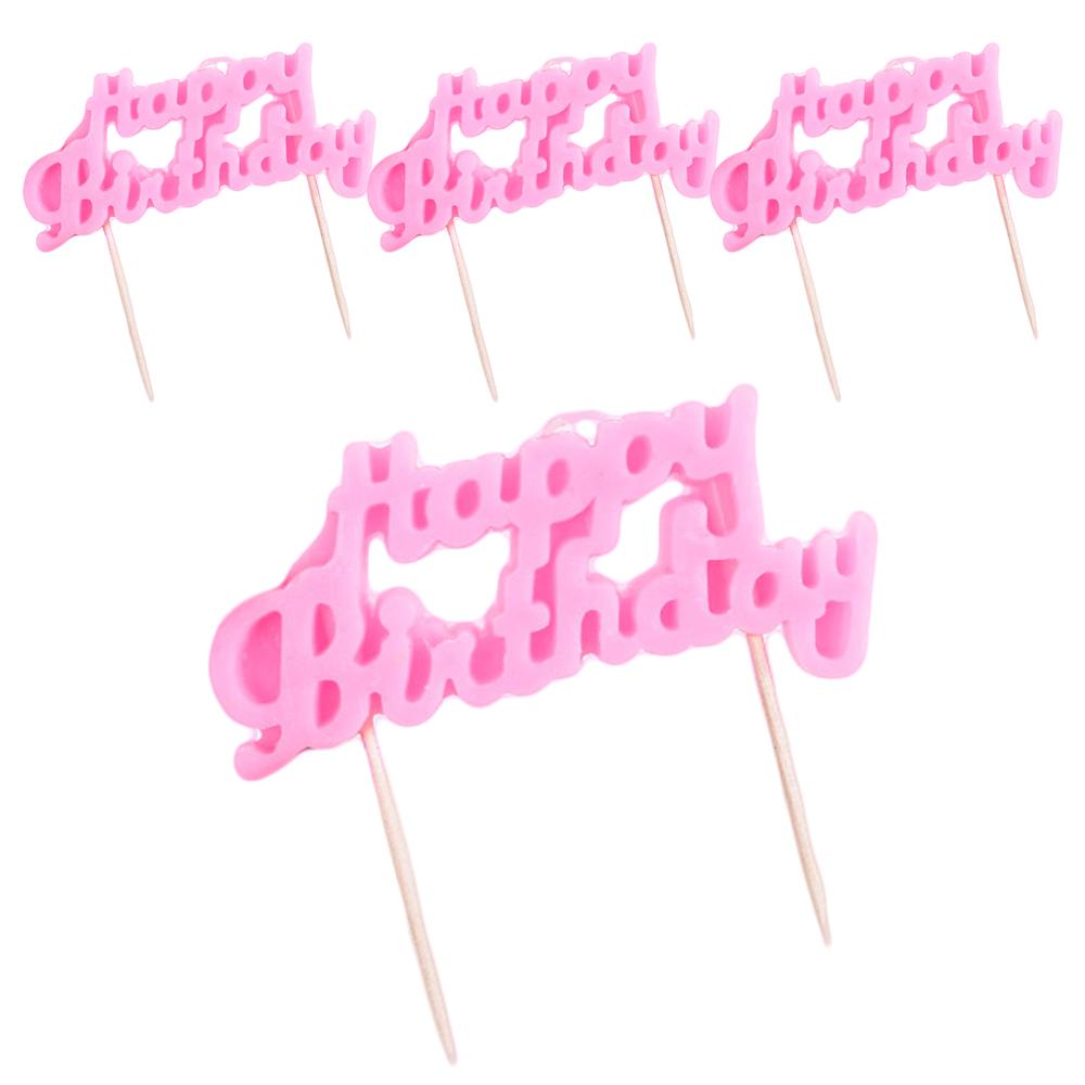 조이파티 해피벌스데이 캘리그래피 생일초, 핑크, 4개